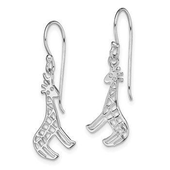 Sterling Silver Rhodium-plated Giraffe Dangle Earrings