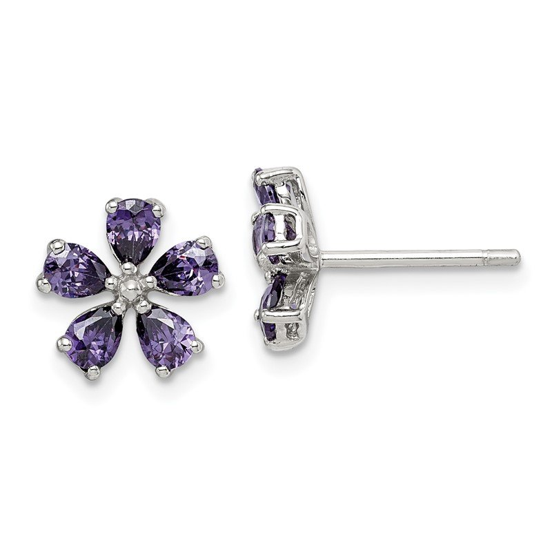 Quality Gold Sterling Silver Purple CZ Flower Post Earrings