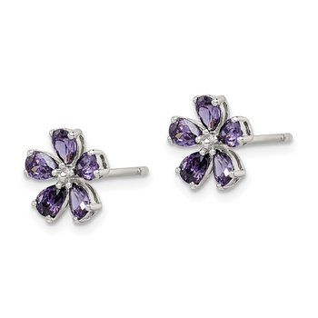 Sterling Silver Purple CZ Flower Post Earrings