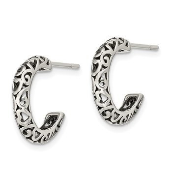 Sterling Silver Antique Post Hoop Earrings