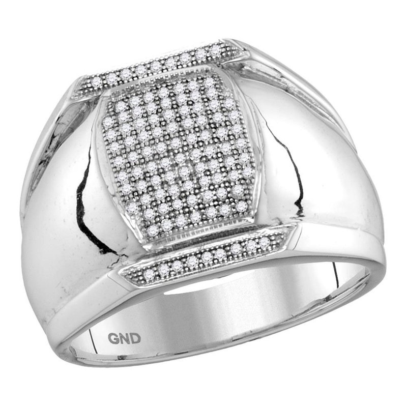 Gold-N-Diamonds 10kt White Gold Mens Round Pave-set Diamond Vertical Rectangle Cluster Ring 1/3 Cttw