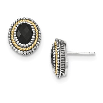 Sterling Silver w/14k Black Onyx Post Earrings
