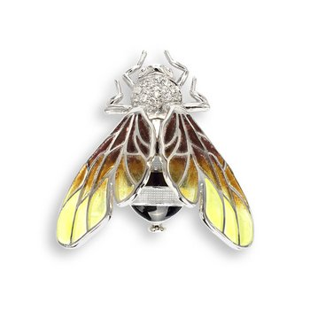 Yellow Bee Brooch.Sterling Silver-White Sapphires - Plique-a-Jour