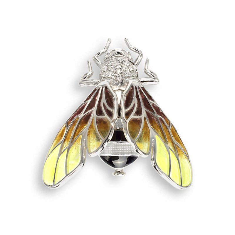 Nicole Barr Designs Yellow Bee Brooch.Sterling Silver-White Sapphires - Plique-a-Jour