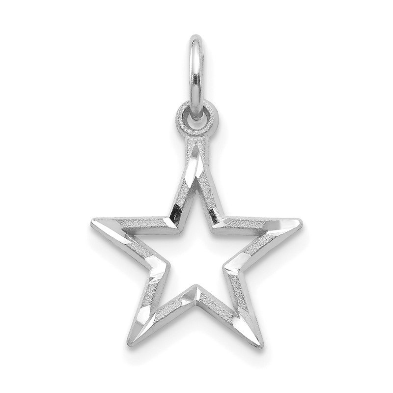 Quality Gold 10k White Gold Diamond-cut Star Charm