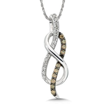 Pave set Cognac and White Love Knot Pendant, 14k White Gold  (1/4ct. dtw.)