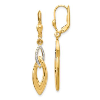 Leslie's 14K w/White Rhodium D/C Leverback Earrings