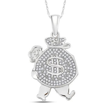 10kt White Gold Mens Round Diamond Money Bag Man Charm Pendant 1/4 Cttw