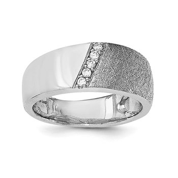 Sterling Silver Polished & Textured CZ Ring