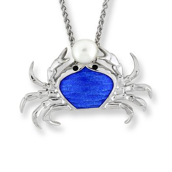 Blue Crab Necklace.Sterling Silver-Freshwater Pearl