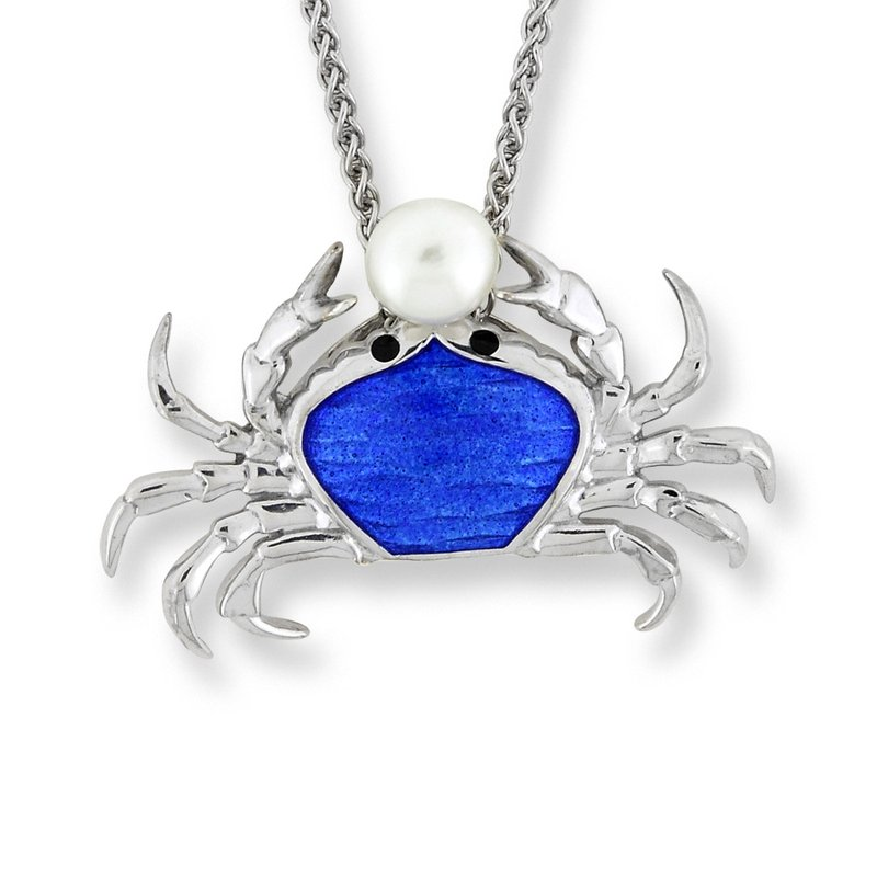 Nicole Barr Designs Blue Crab Necklace.Sterling Silver-Freshwater Pearl