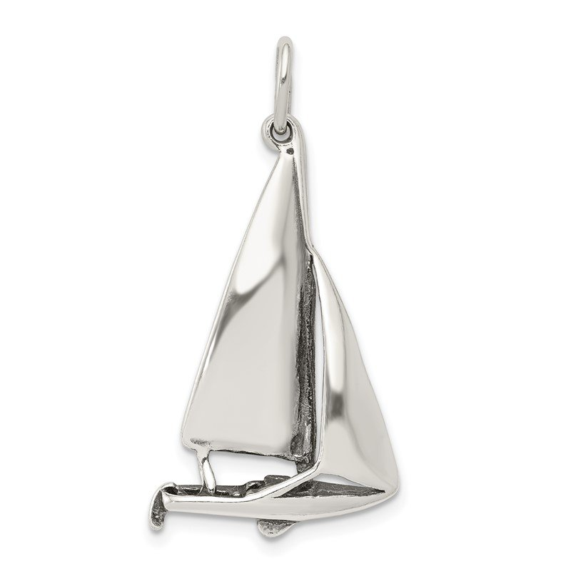Quality Gold Sterling Silver Antiqued Sailboat Charm