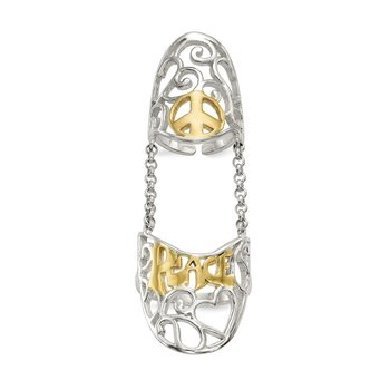 Sterling Silver Polished Gold-tone Peace Double Finger Ring