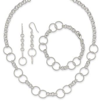 Sterling Silver Necklace, Bracelet and Earring Set