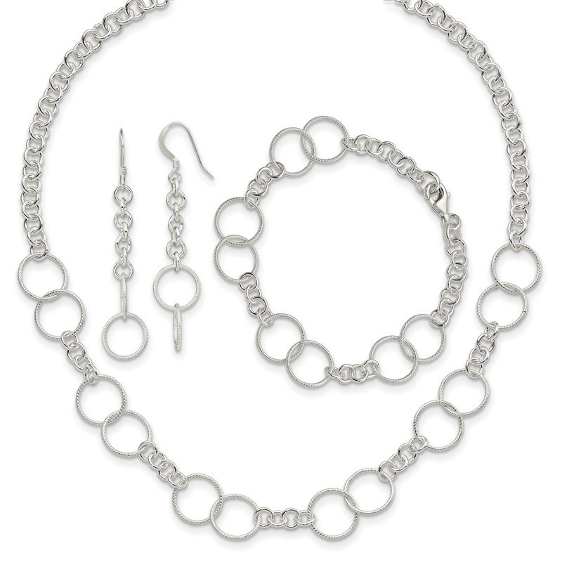 Fine Jewelry by JBD Sterling Silver Necklace, Bracelet and Earring Set