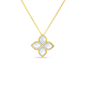 18Kt Lrg Flower Mother-Of-Pearl & Diamond Pendant