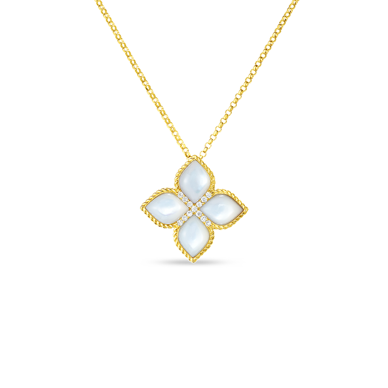 Roberto Coin 18KT LRG FLOWER MOTHER-OF-PEARL & DIAMOND PENDANT