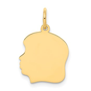14k Plain Medium .011 Gauge Facing Left Engravable Girl Head Charm