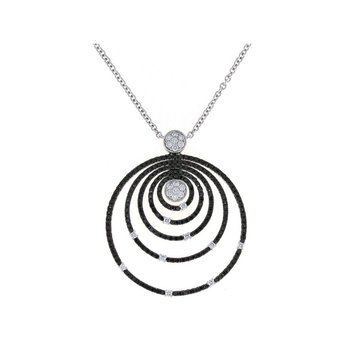 18Kt Gold White And Black Diamond Circle Pendant