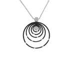 Roberto Coin 18Kt Gold White And Black Diamond Circle Pendant