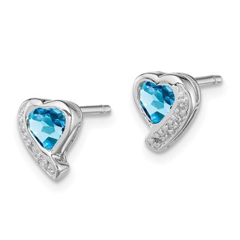 Sterling Silver Rhodium-plated Blue Topaz and Diamond Heart Earrings