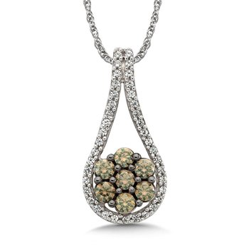 Pave set Cognac and White Diamond Open Drop Shaped and Round Cluster Dangle Pendant, 10k White Gold  (1/2 ct. tw.)