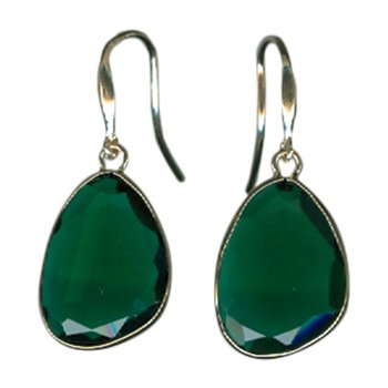 Clear Green Agate Single Drop Earrings