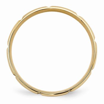 14k Yellow Gold Standard Comfort Fit Brush Satin Fancy Band