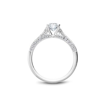 Side-Stone Oval Solitaire Engagement Ring