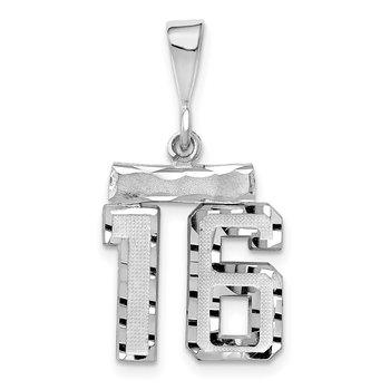 14k White Gold Small Diamond-cut Number 16 Charm