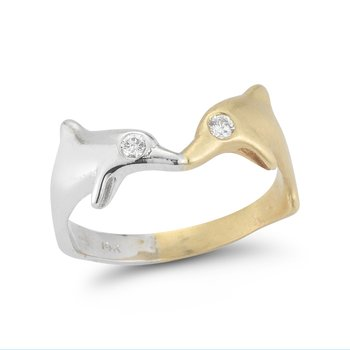 "14K Kissing Dolphins ring 3/4"" long on top"
