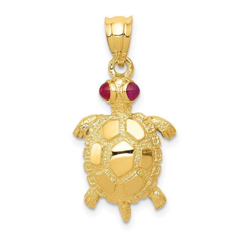 Quality Gold 14k Turtle with Ruby Eyes Pendant