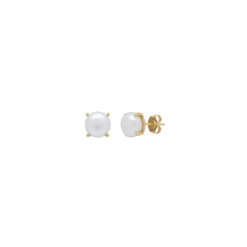 Honora Honora 14KY 8-8.5mm White Button Freshwater Cultured Pearl Stud Earrings