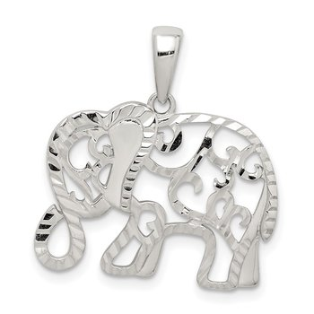 Sterling Silver Diamond-cut Elephant Pendant