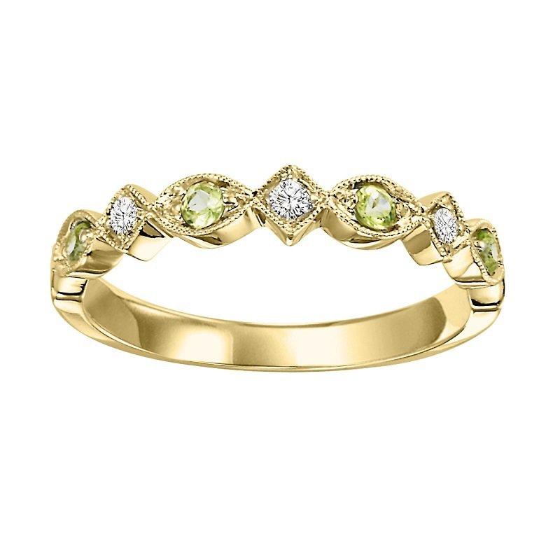Mixables 14K Peridot & Diamond Mixable Ring