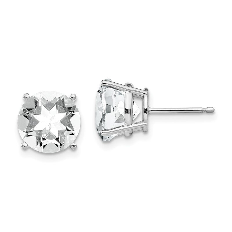 Quality Gold 14k White Gold 10mm Cubic Zirconia Earrings