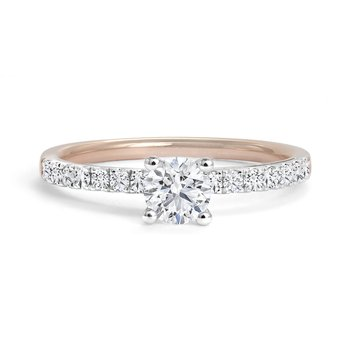 Solitaire Engagement Ring with Pave Diamonds