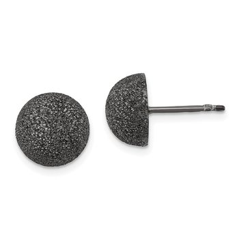 Sterling Silver Black Ruthenium 10mmSatin Finish Post Earrings