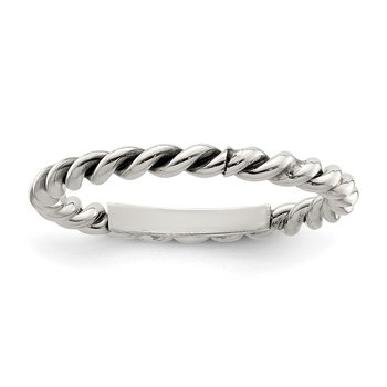 Sterling Silver Polished Twisted 1.75mm Women's Ring