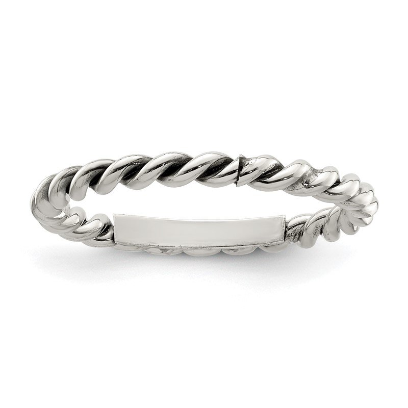 Quality Gold Sterling Silver Polished Twisted 1.75mm Women's Ring