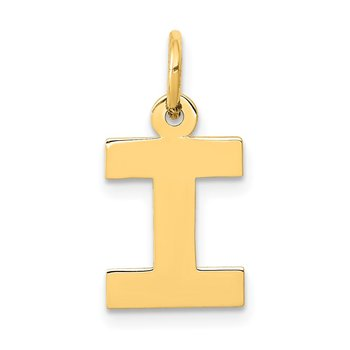 14k Small Block Letter I Initial Charm