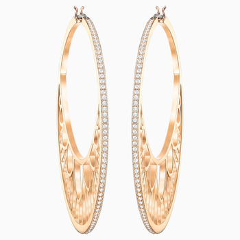 Georgette Hoop Pierced Earrings, White, Rose-gold tone plated