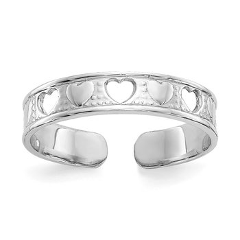 14k White Gold Polished w/ Hearts Toe Ring