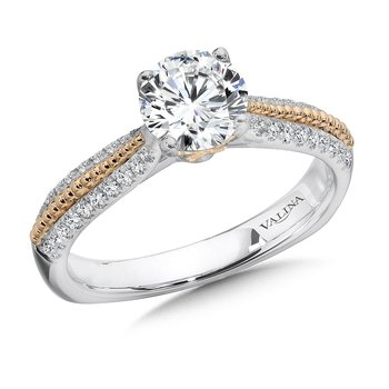 Diamond Engagement Ring Mounting in 14K White/Rose Gold (.27 ct. tw.)