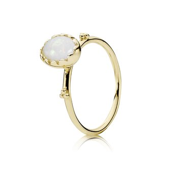 Soft Sweetness, White Opal & 14K Gold