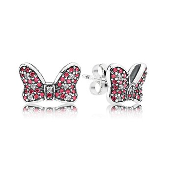 Disney, Minnie's Sparkling Bow Stud Earrings, Red Clear Cz