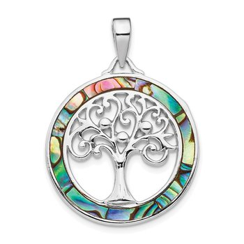 Sterling Silver Rhodium-plated Abalone Circle w/Tree of Life Pendant