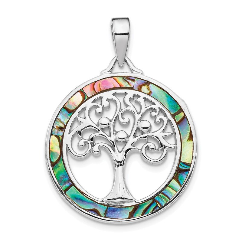 Quality Gold Sterling Silver Rhodium-plated Abalone Circle w/Tree of Life Pendant