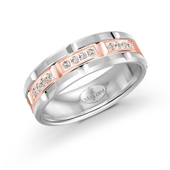 7mm two-tone white and rose gold brick motif band, embelished with 32X0.01CT diamonds