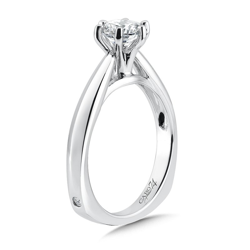 Caro74 Six-Prong Diamond Solitaire Engagement Ring in 14K White Gold with Platinum Head (3/4 ct.)